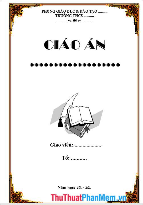 Mẫu bìa giáo án dành cho công tác giảng dạy