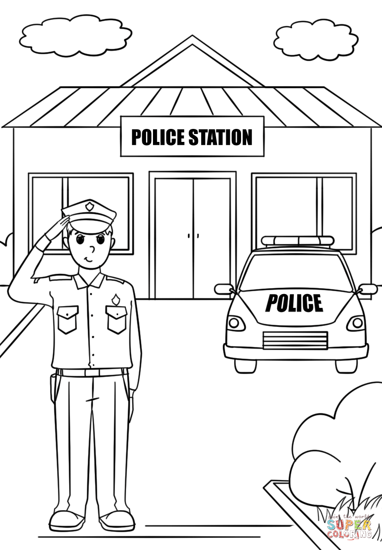 Tô màu chú công an và sở cảnh sát