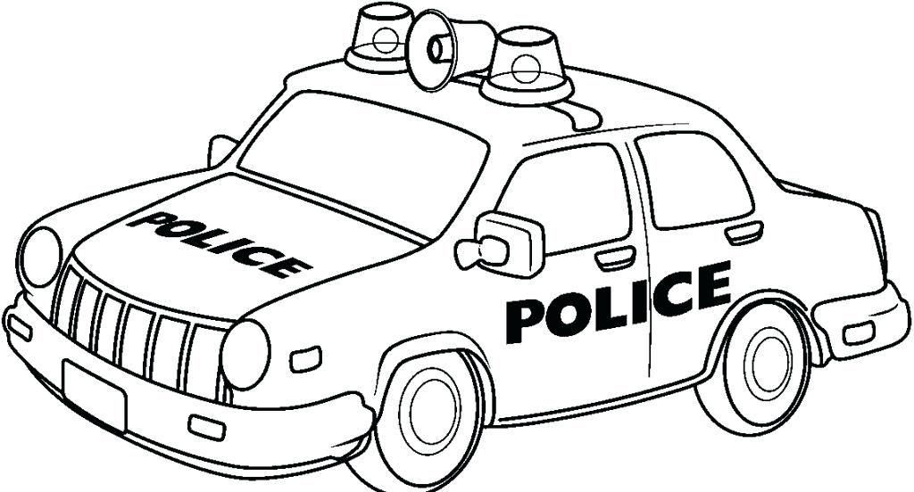 Tranh tô màu xe công an cảnh sát