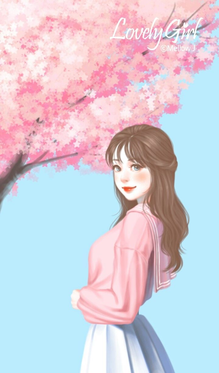 Ảnh anime Hàn cô gái đứng dưới tán hoa anh đào