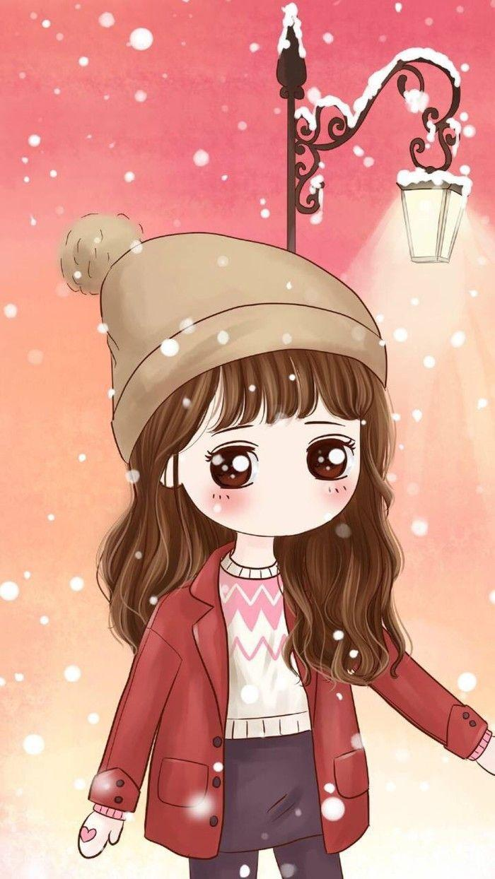 Ảnh anime Hàn đẹp cô gái mắt nâu xinh đẹp dưới trời tuyết rơi
