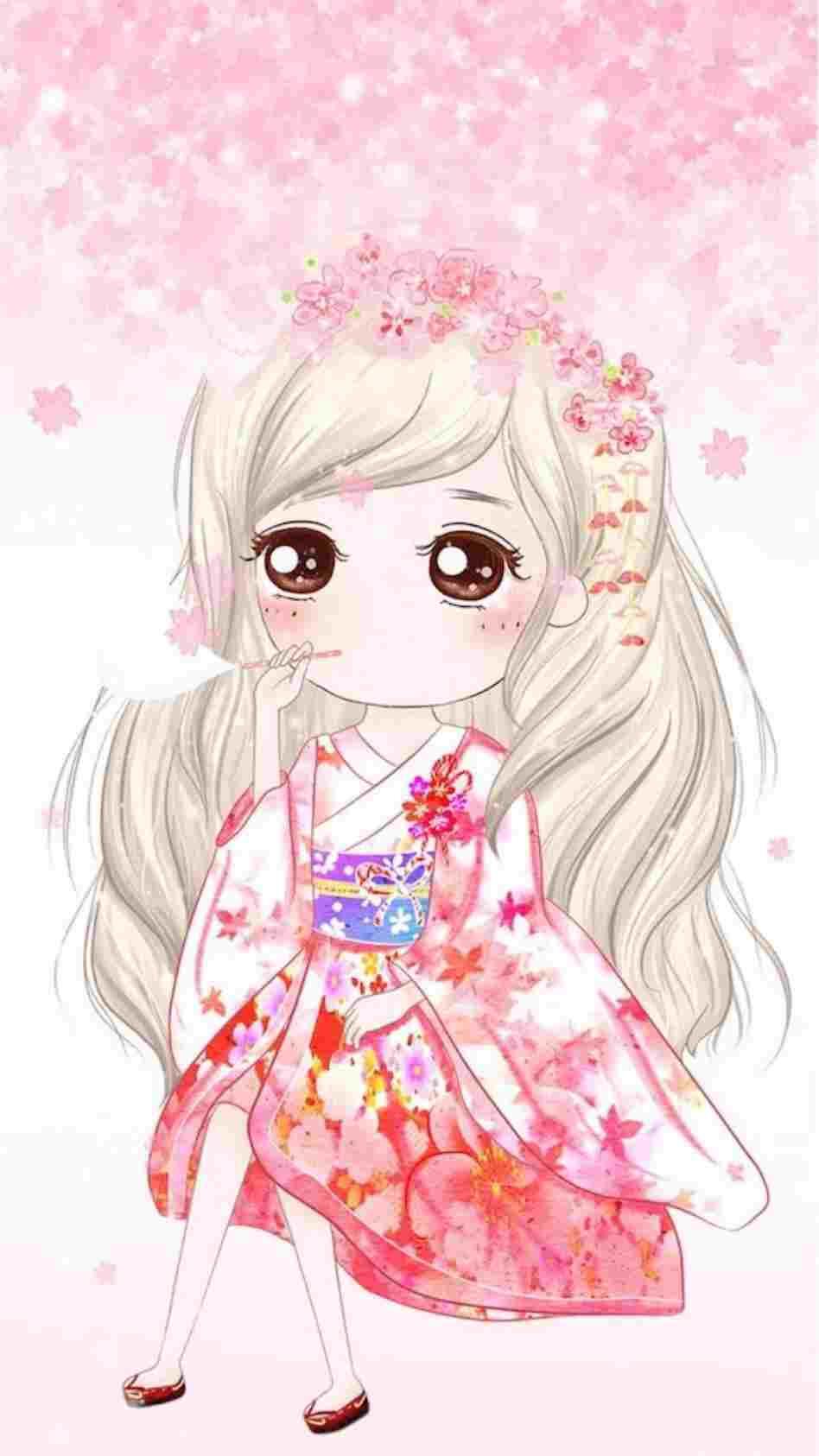Ảnh anime Hàn đẹp cô gái tóc bạc xinh xắn