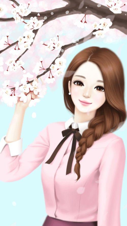 Ảnh anime Hàn đẹp cô gái tóc nâu cực xinh