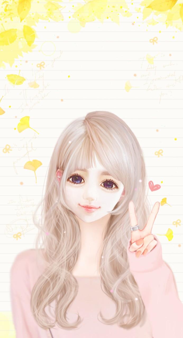 Ảnh anime Hàn đẹp cô gái tóc trắng mắt tím cực xinh