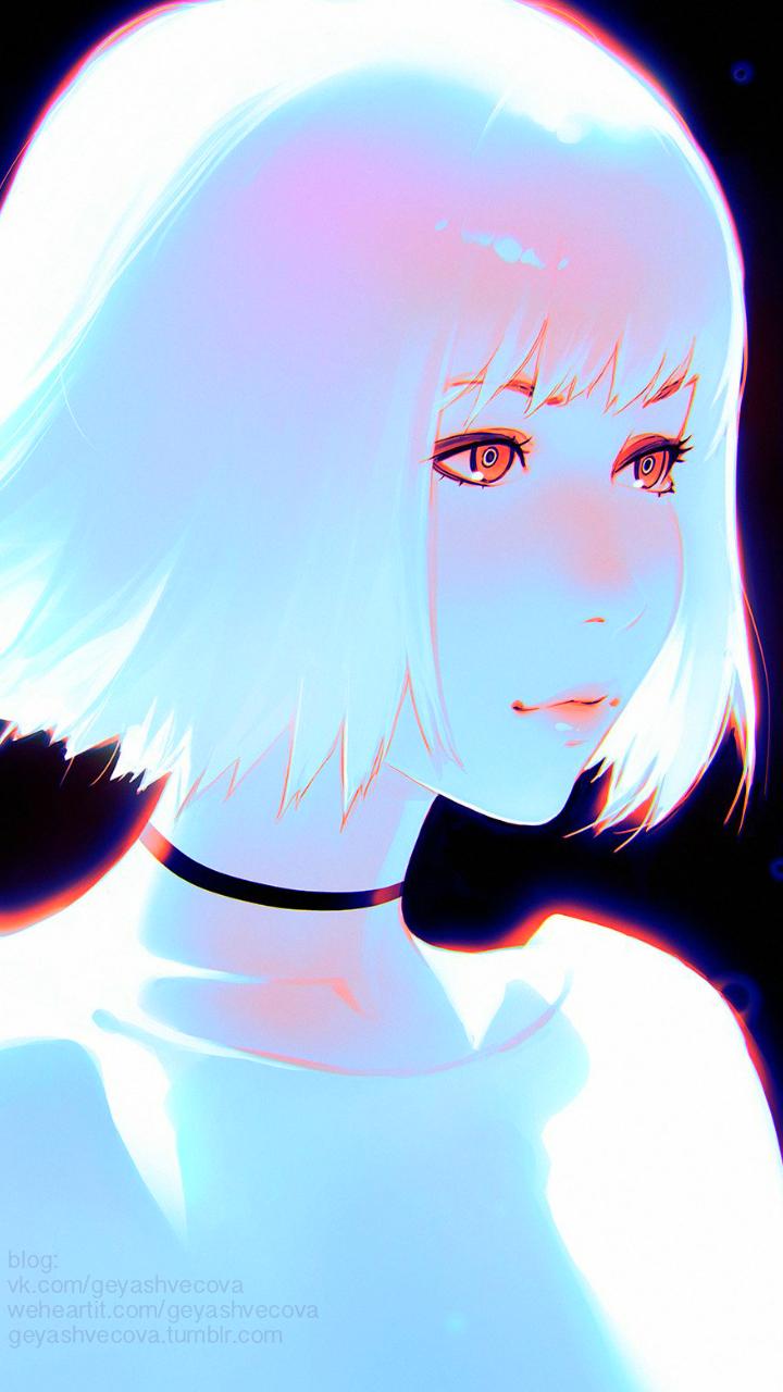 Ảnh anime Hàn đẹp cô gái tóc trắng xinh lung linh