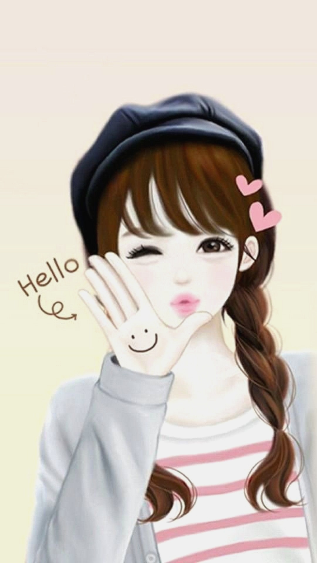 Ảnh anime Hàn đẹp cô gái xinh xắn Hello
