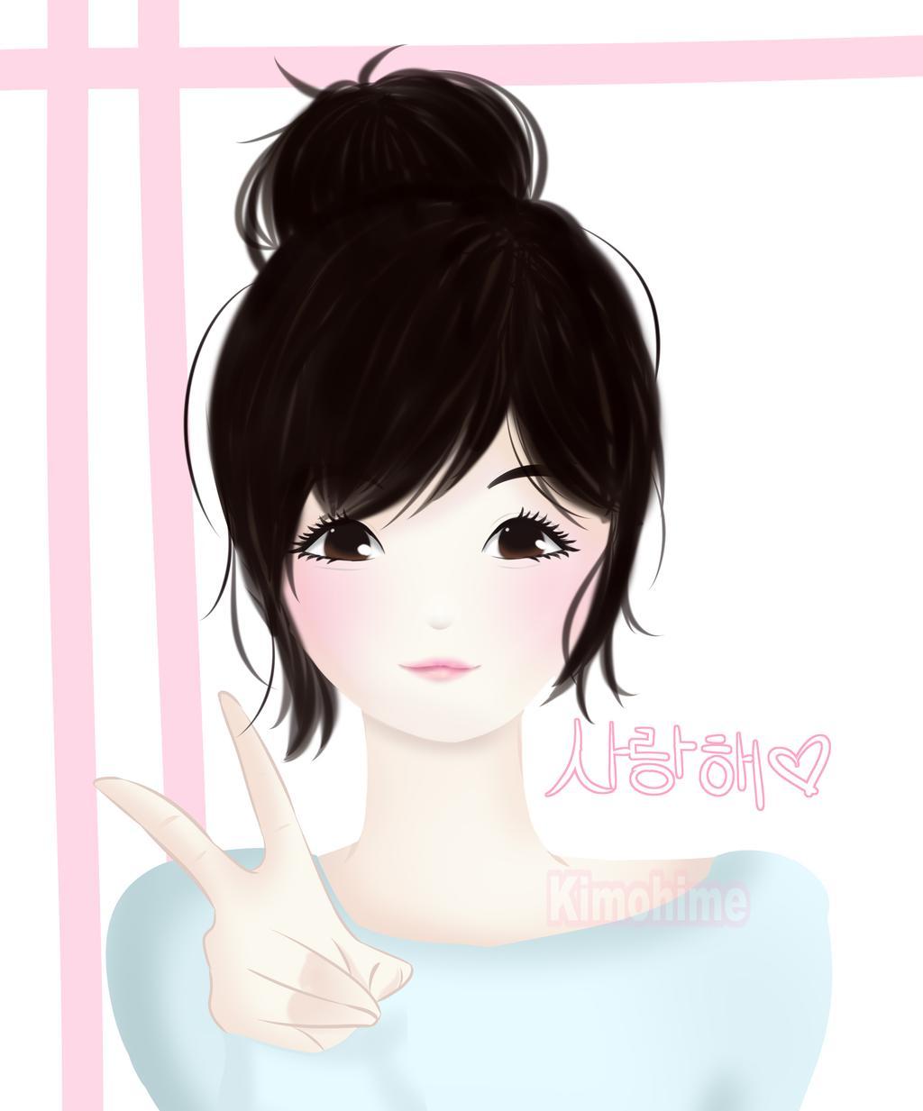 Ảnh anime Hàn rất đẹp cô gái mắt nâu