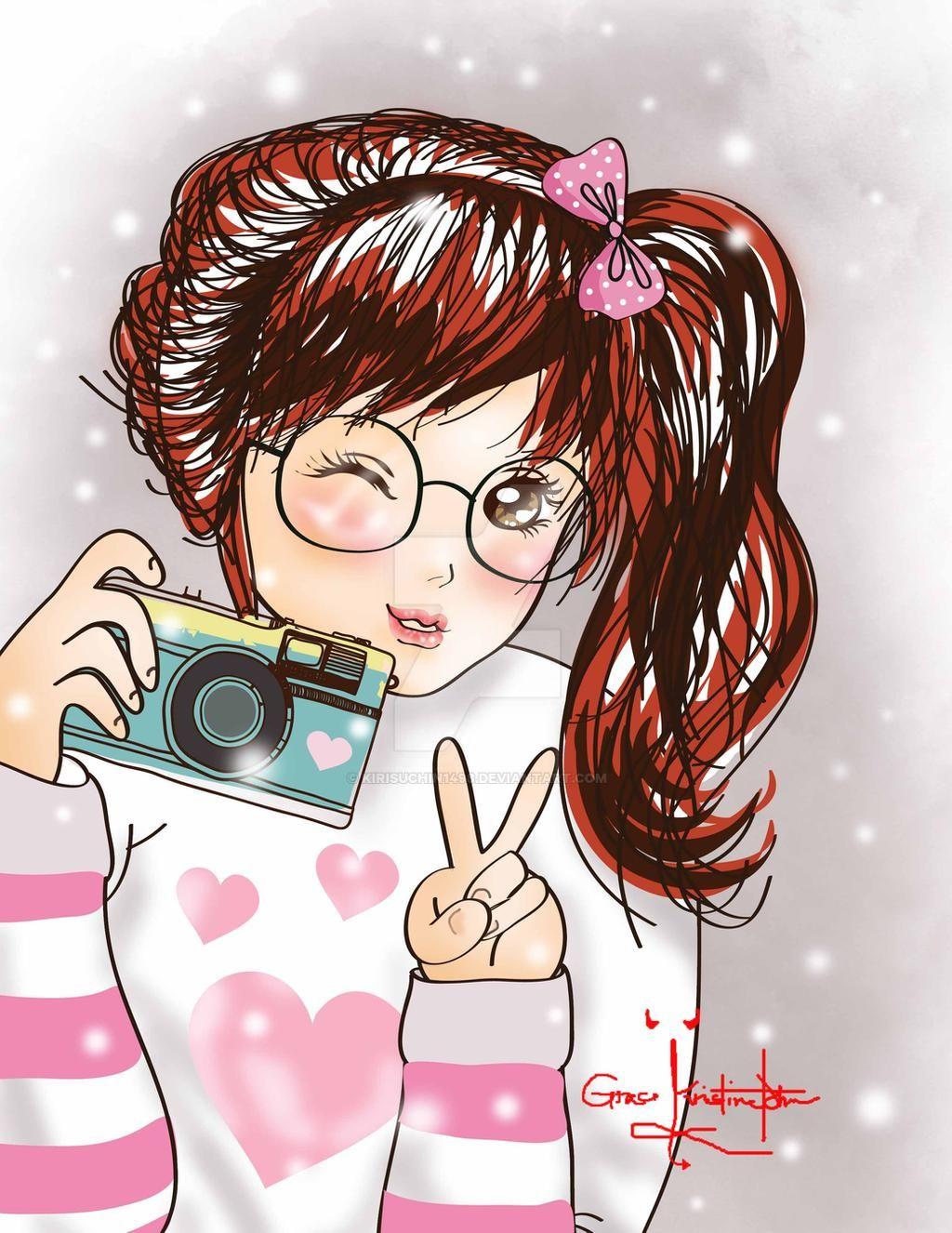 Cô gái tóc đỏ cam cầm máy chụp ảnh xinh đẹp - hình ảnh anime Hàn đẹp