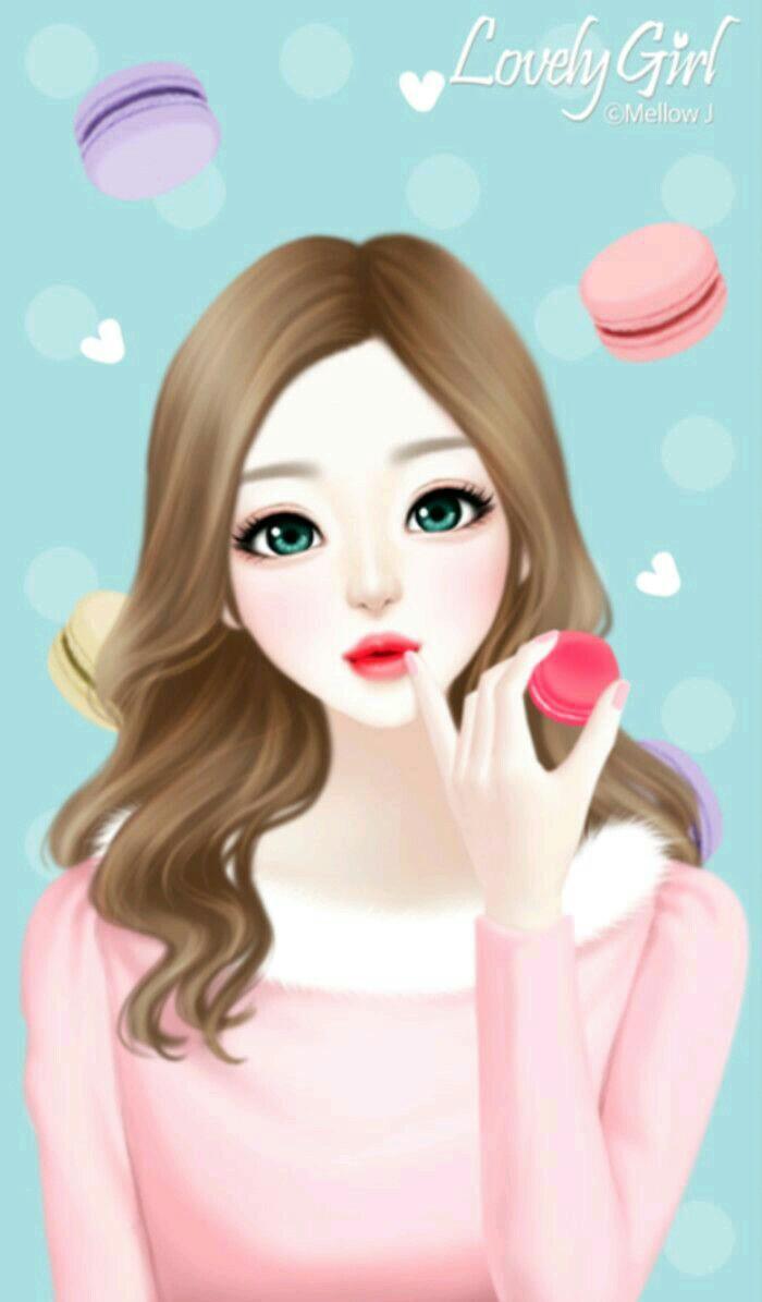 Hình ảnh anime Hàn cô gái tóc nâu dài xinh xắn
