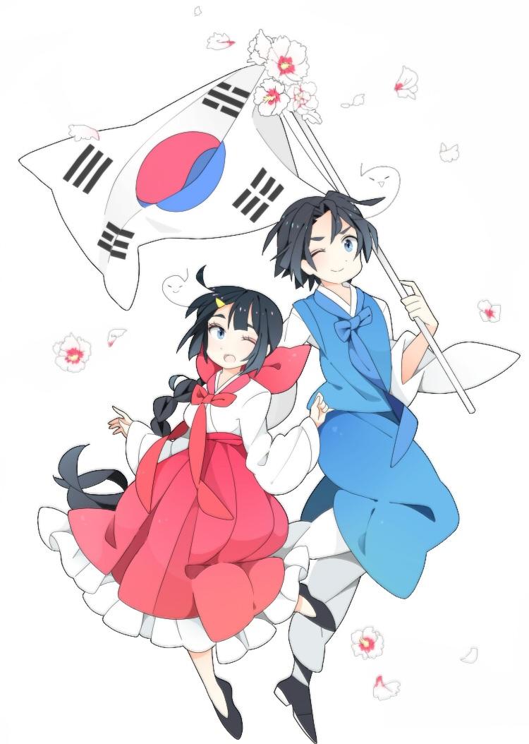 Hình ảnh anime Hàn đẹp cậu bé áo xanh bé gái váy hồng
