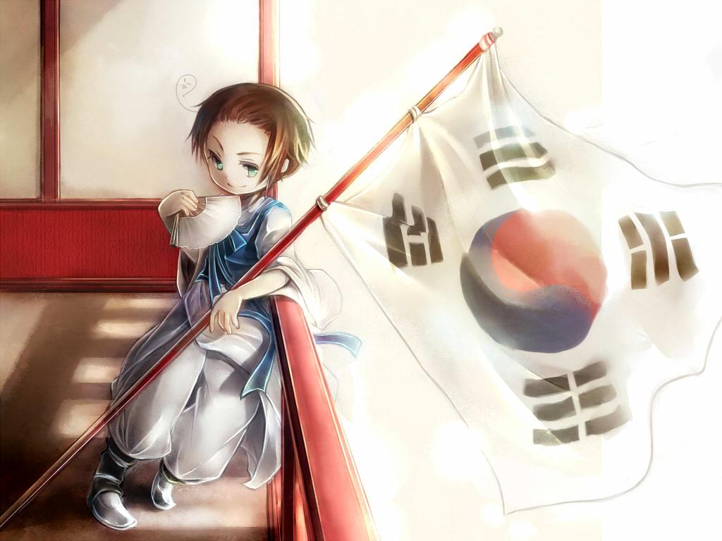 Hình ảnh anime Hàn đẹp cậu bé bên lá cờ Hàn
