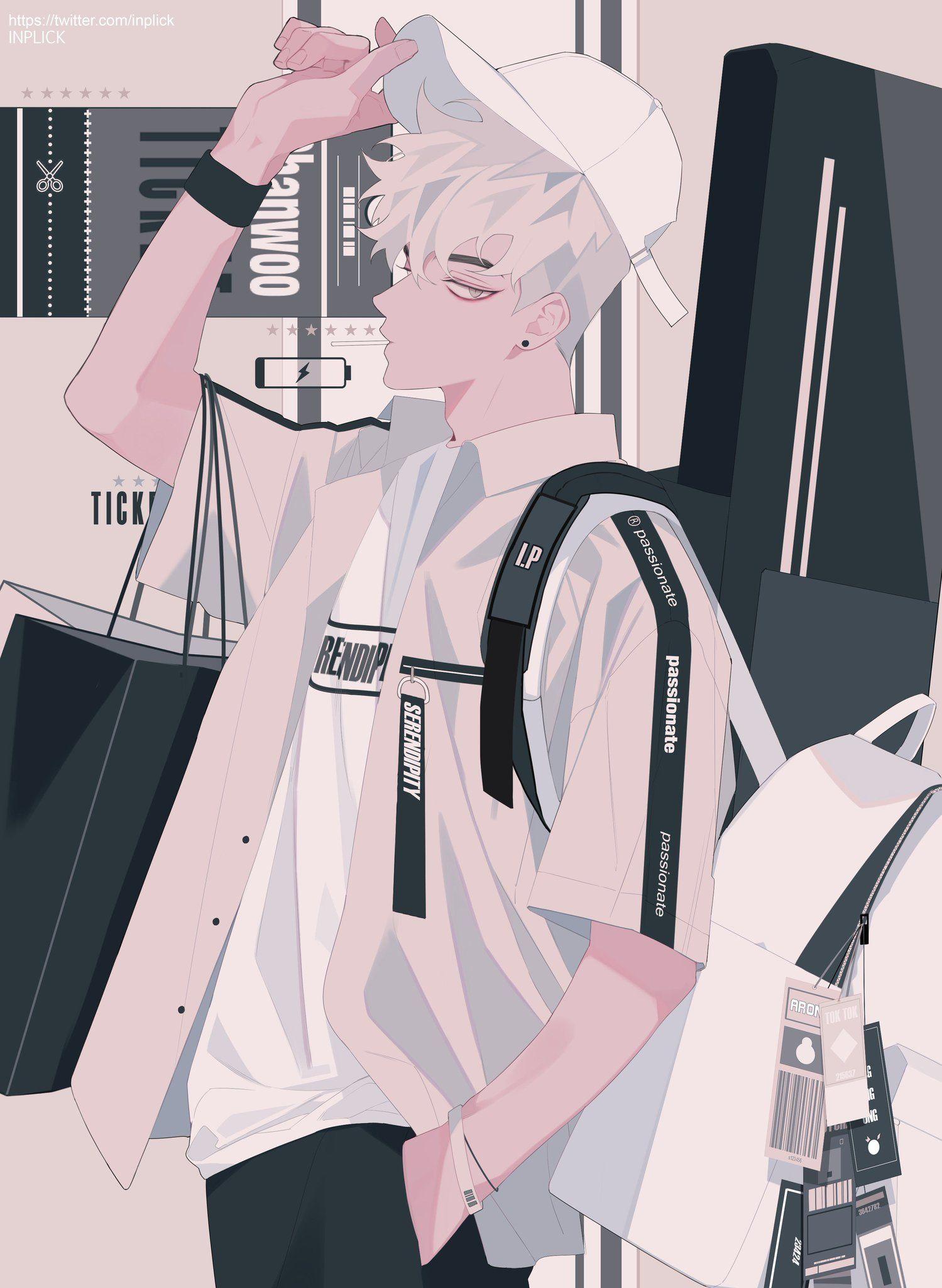 Hình ảnh anime Hàn đẹp chàng trai tóc trắng cực ngầu