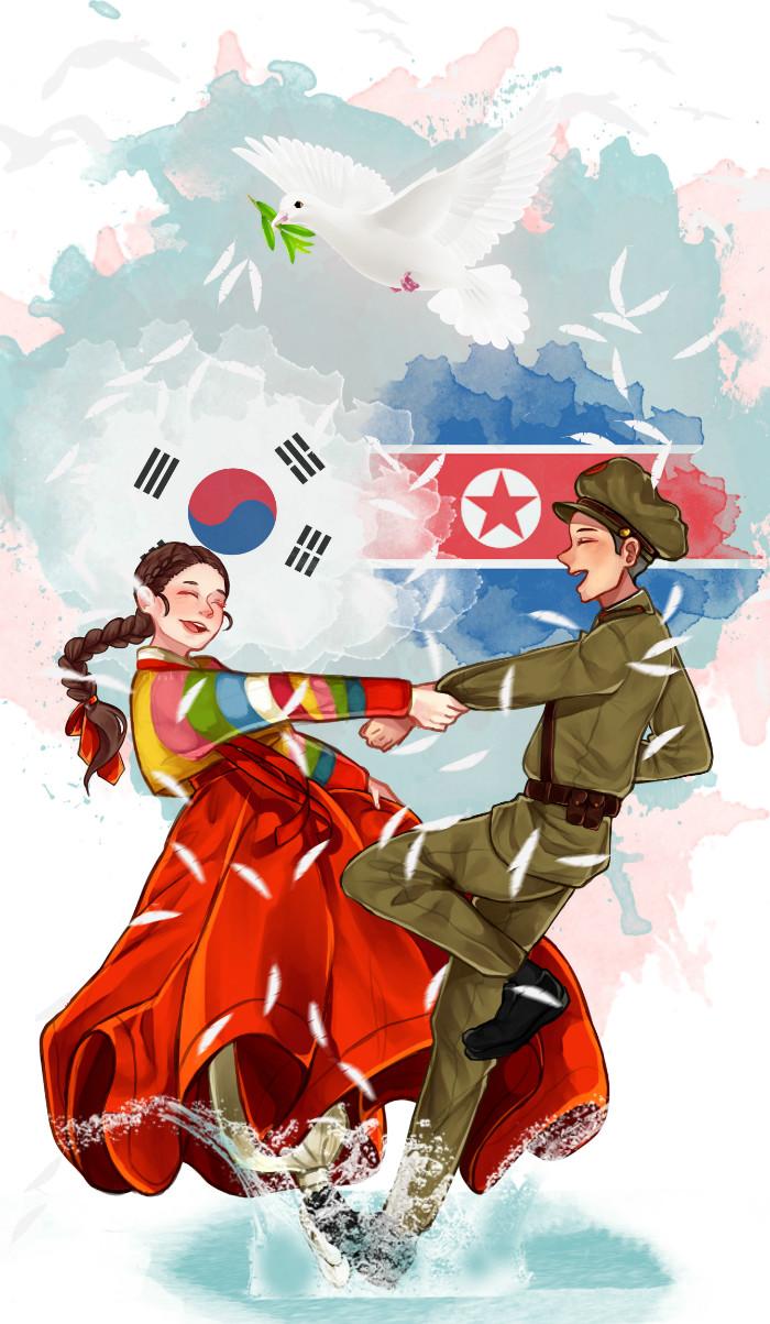 Hình ảnh anime Hàn đẹp chàng trai và cô gái khiêu vũ