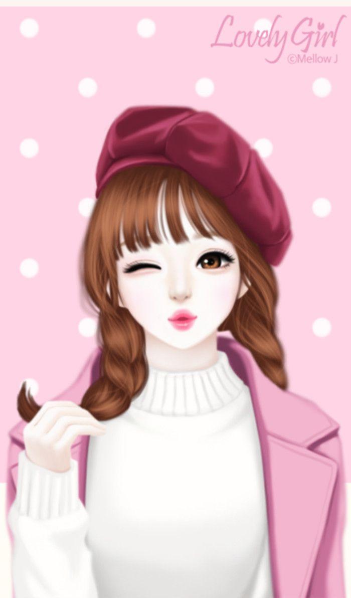 Hình ảnh anime Hàn đẹp cô gái chu môi