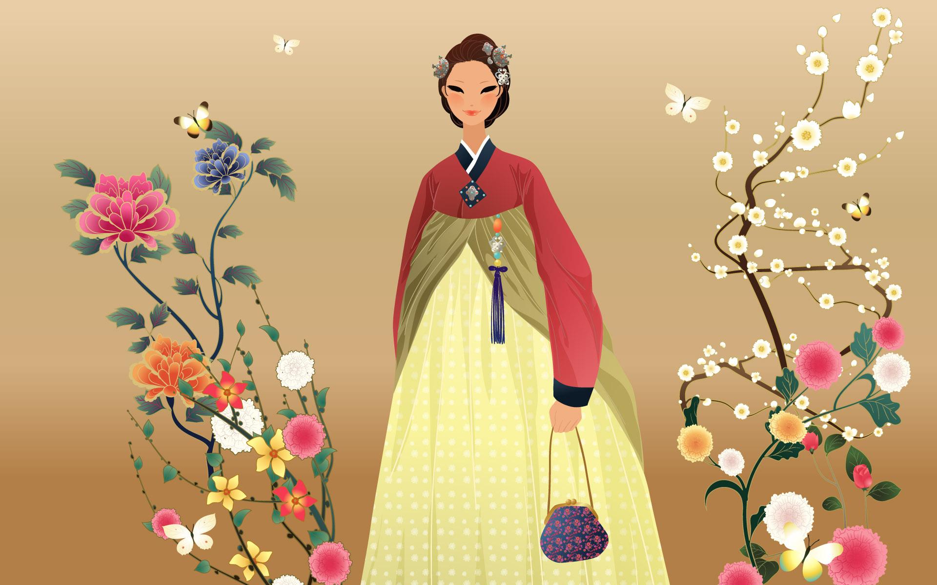 Hình ảnh anime Hàn đẹp cô gái mặc đồ truyền thống