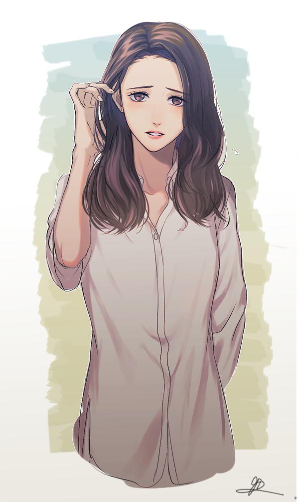 Hình ảnh anime Hàn đẹp cô gái mặc sơ mi quyến rũ