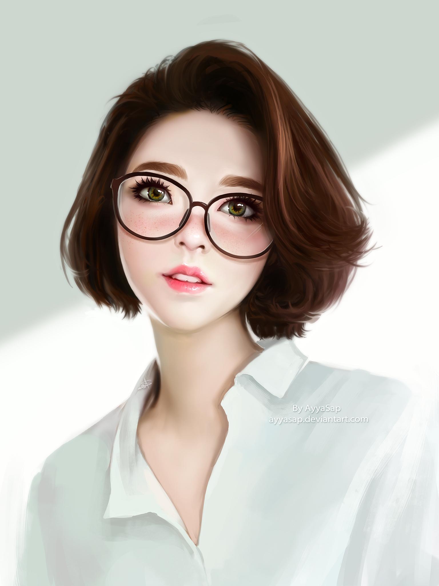 Hình ảnh anime Hàn đẹp cô gái mắt xanh tóc ngắn