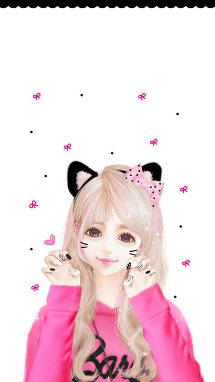 Hình ảnh anime Hàn đẹp cô gái tóc trắng xinh xắn