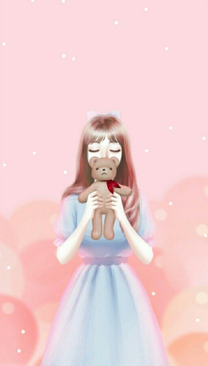 Hình ảnh anime Hàn đẹp cô gái váy xanh