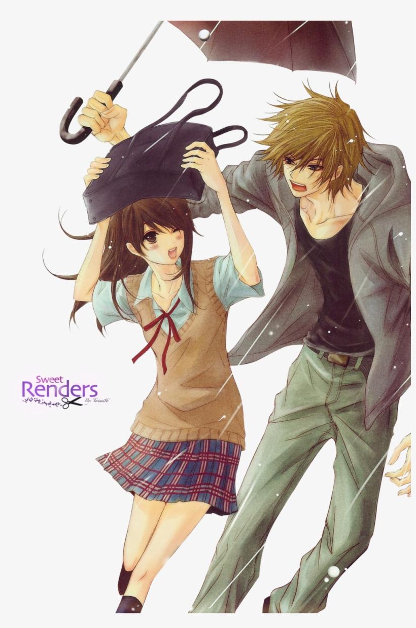 Hình ảnh anime hàn đẹp cùng nhau đi dưới mưa