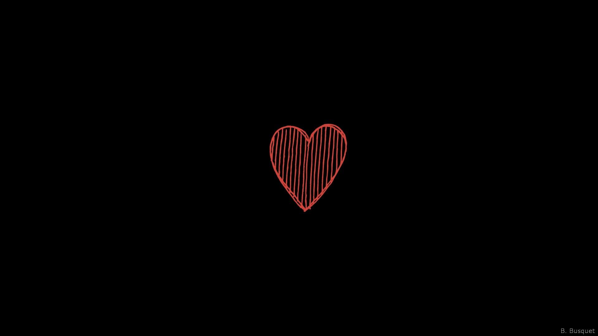 Hình nền đen trái tim đỏ rất đẹp