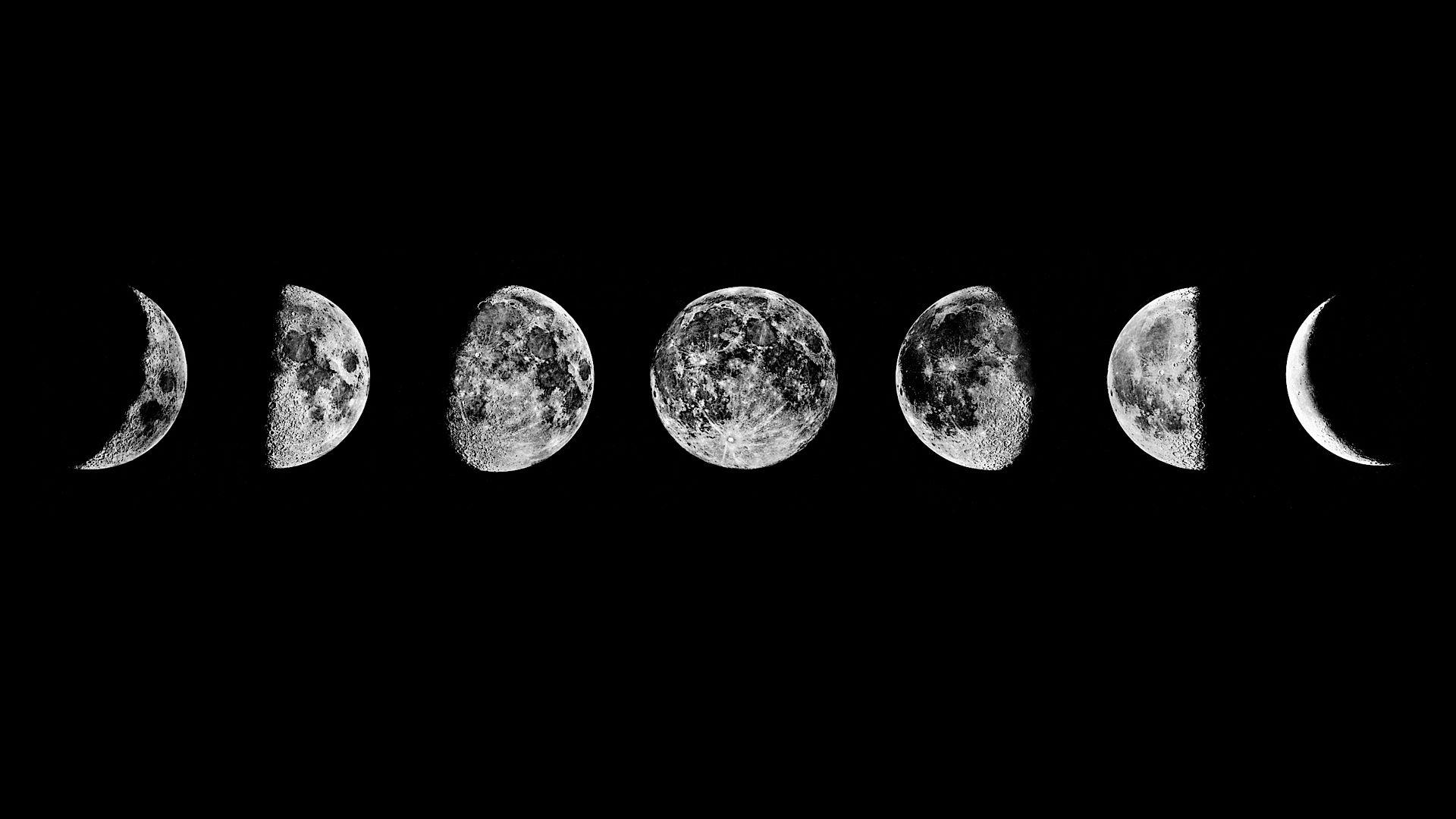 Hình nền đen trắng cho máy tính chu kỳ vầng trăng