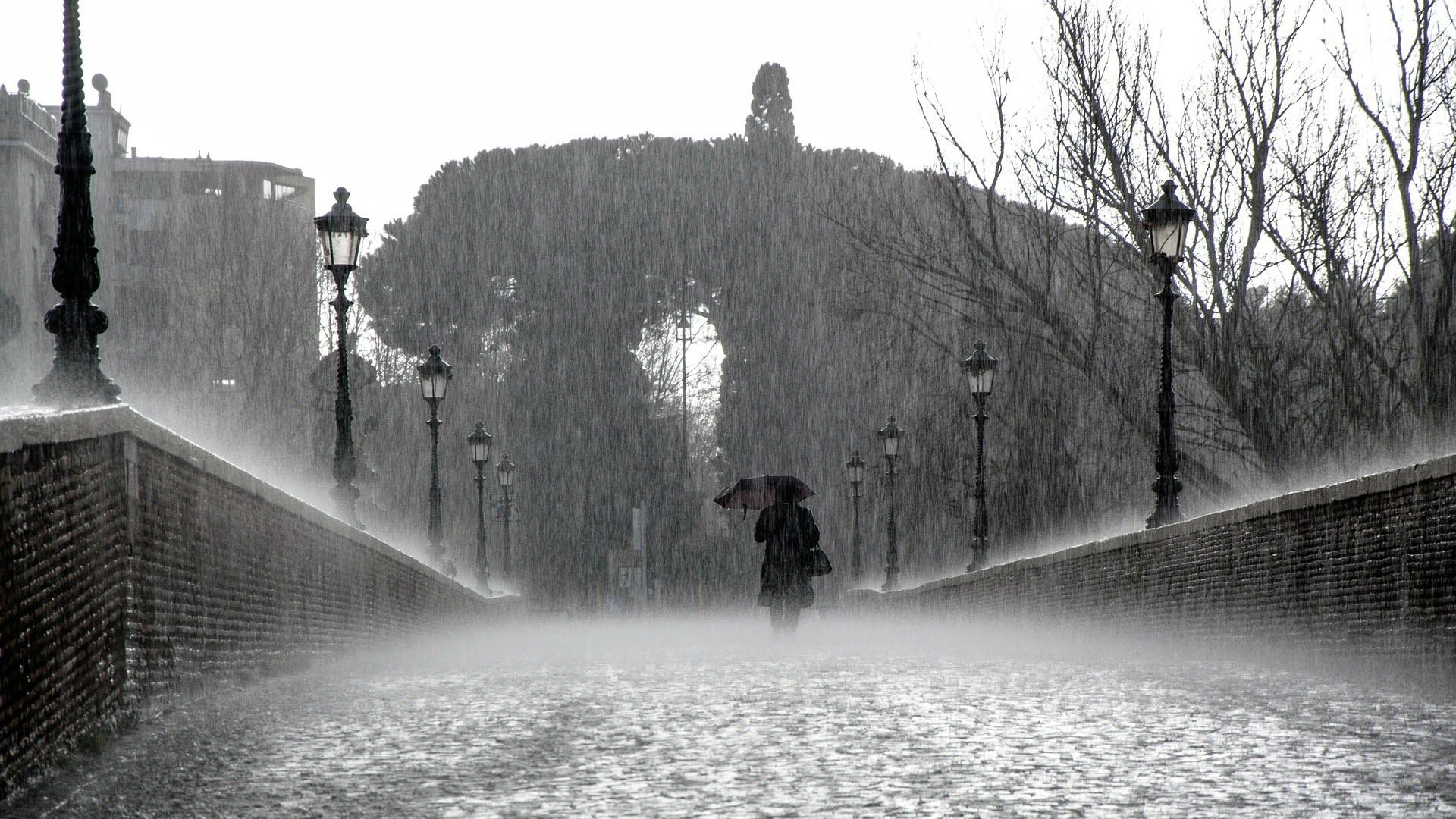 Hình nền đen trắng cho máy tính cơn mưa trên cầu