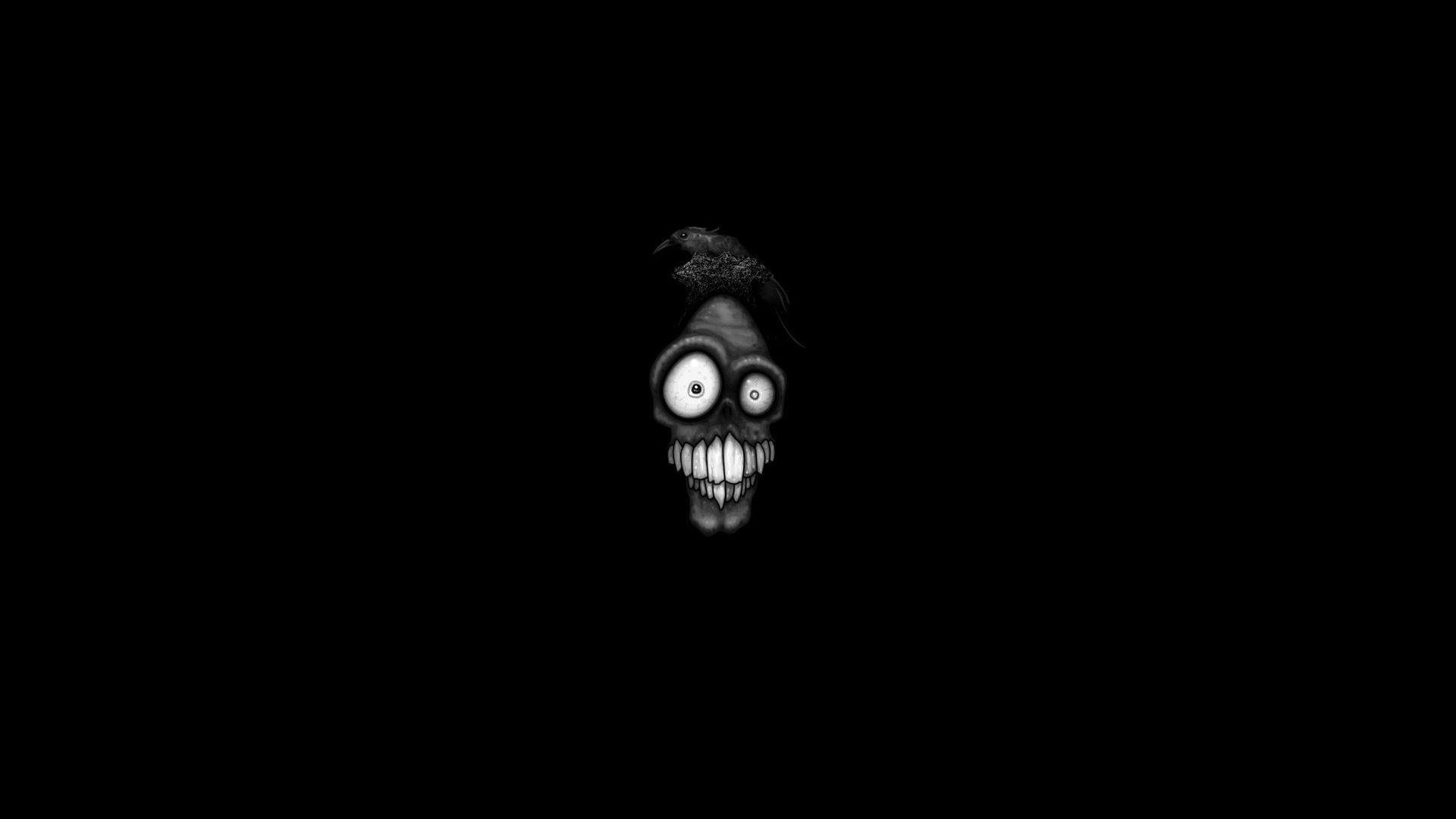 Hình nền đen trắng cho máy tính khuôn mặt xương