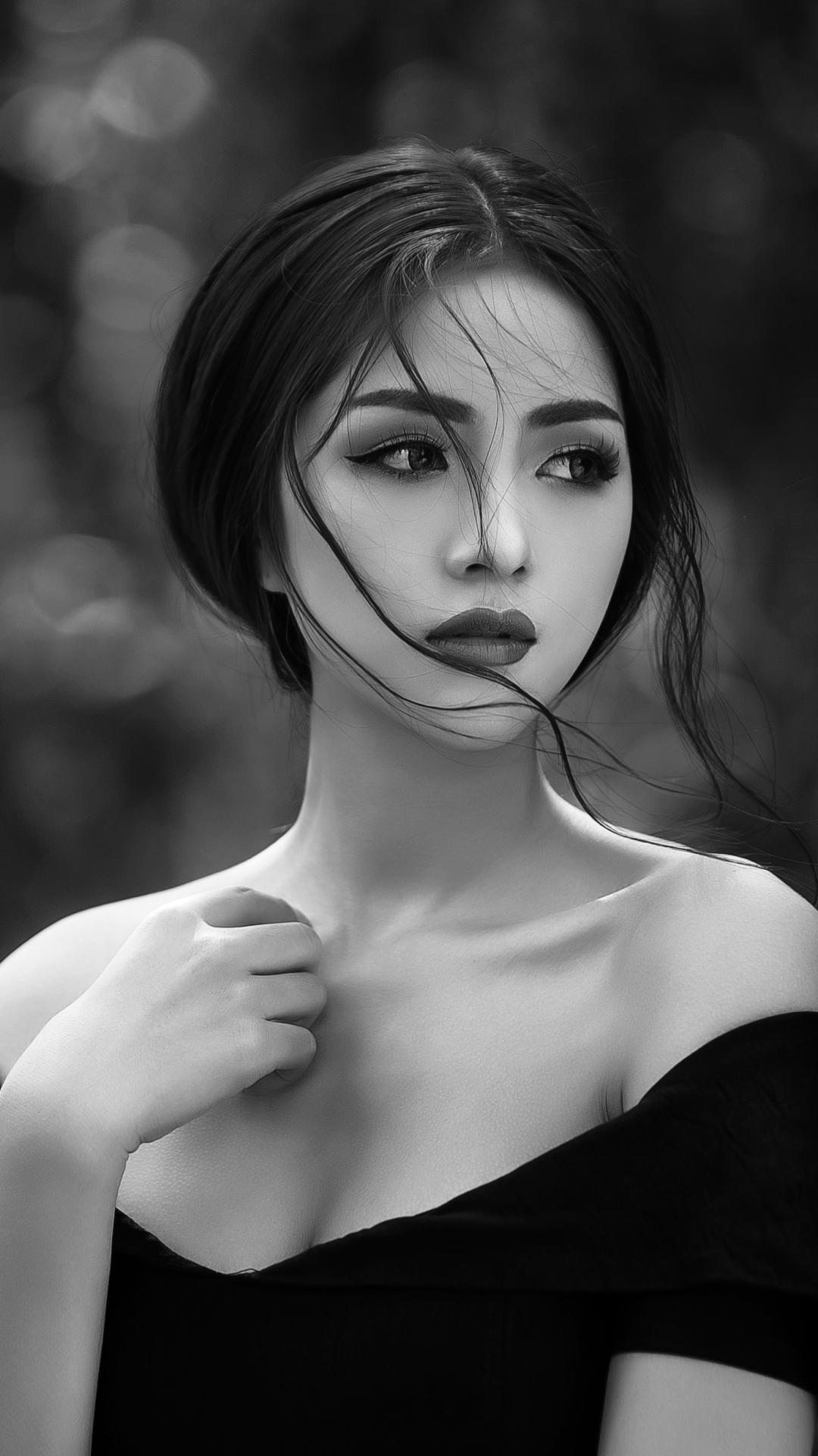 Hình nền điện thoại cô gái xinh đẹp màu đen trắng