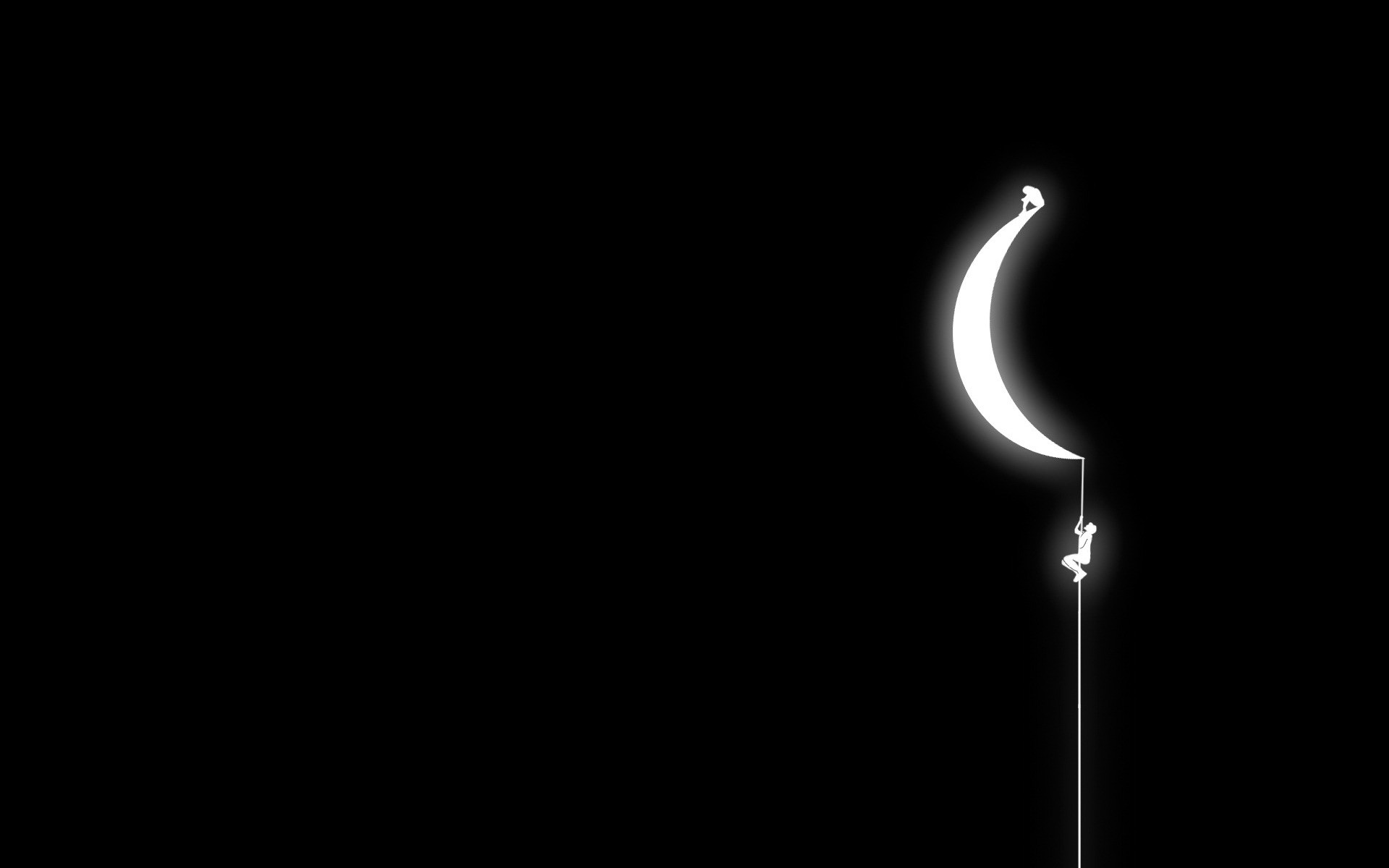 Hình nền máy tính đen trắng leo lên mặt trăng