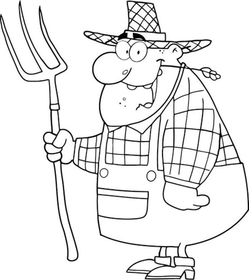 Tranh tô màu bác nông dân đơn giản