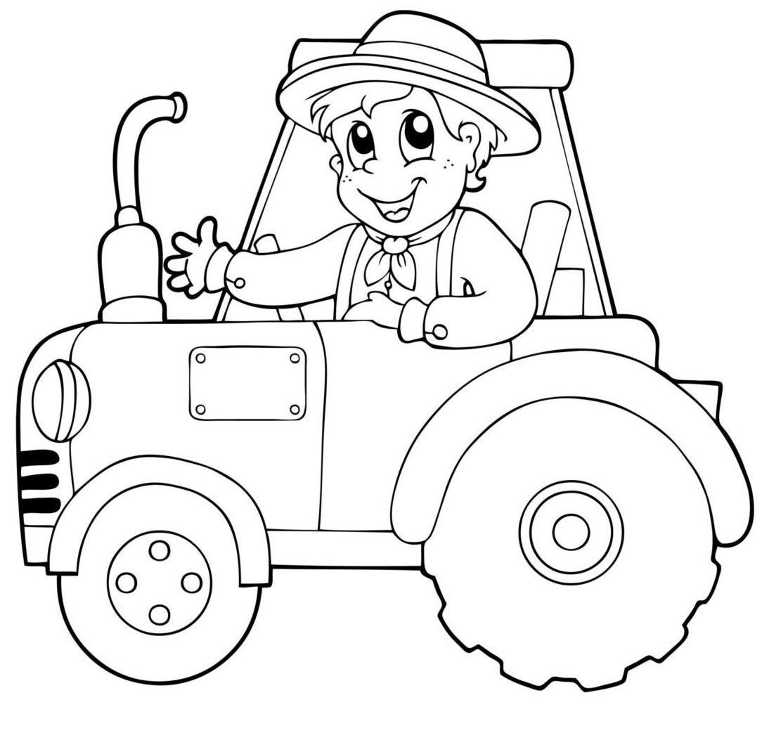 Tranh tô màu bác nông dân lái xe cho bé