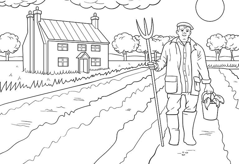 Tranh tô màu bác nông dân thu hoạch