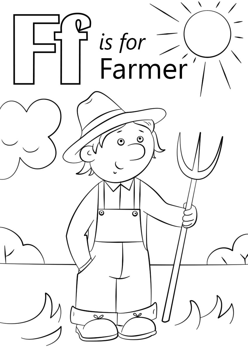Tranh tô màu người làm nông đẹp