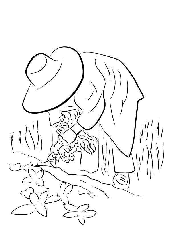 Tranh vẽ tô màu bác nông dân cho bé tập tô