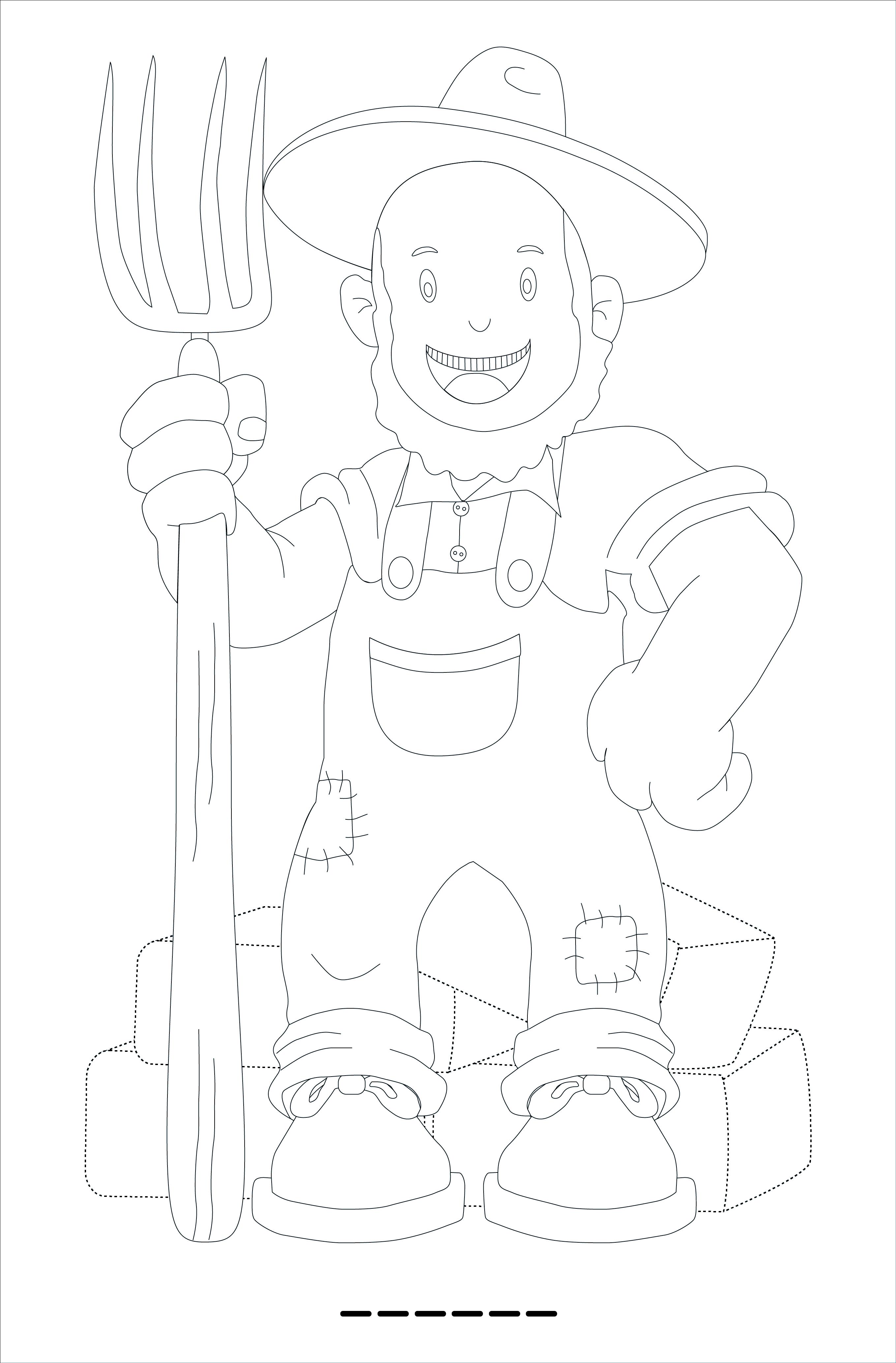 Tranh vẽ tô màu bác nông dân đơn giản cho bé