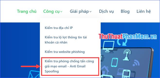 Chọn Kiểm tra phòng chống tấn công giả mạo email