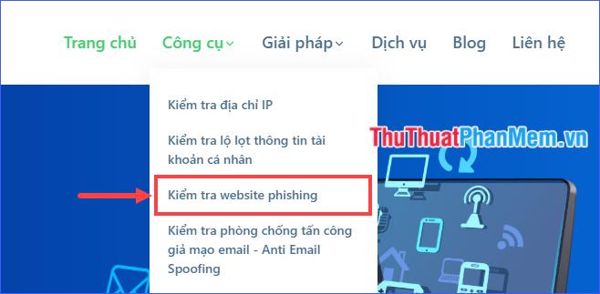 Chọn Kiểm tra website phishing
