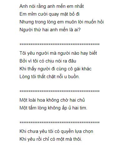 Hình ảnh bài thơ Anh nói rằng anh mến em nhất