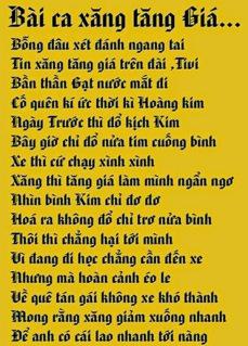 Hình ảnh bài thơ Bài ca xăng tăng giá