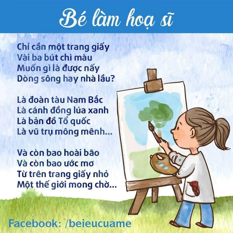 Hình ảnh bài thơ Bé làm họa sĩ
