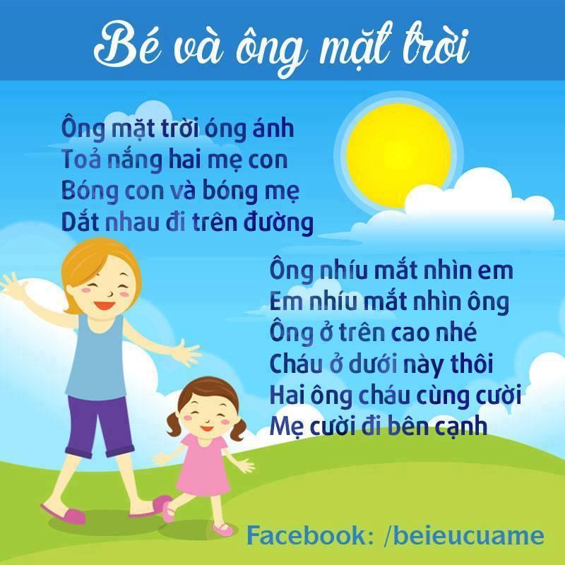Hình ảnh bài thơ Bé và ông mặt trời