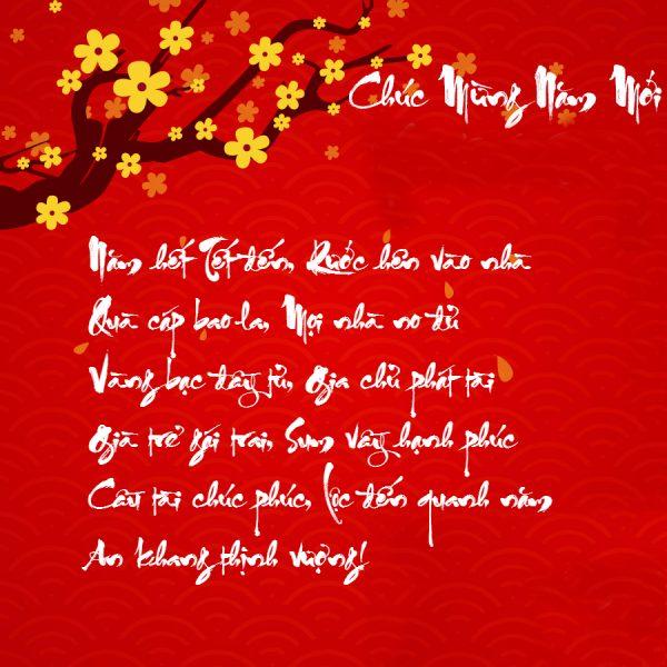 Hình ảnh bài thơ chúc mừng năm mới