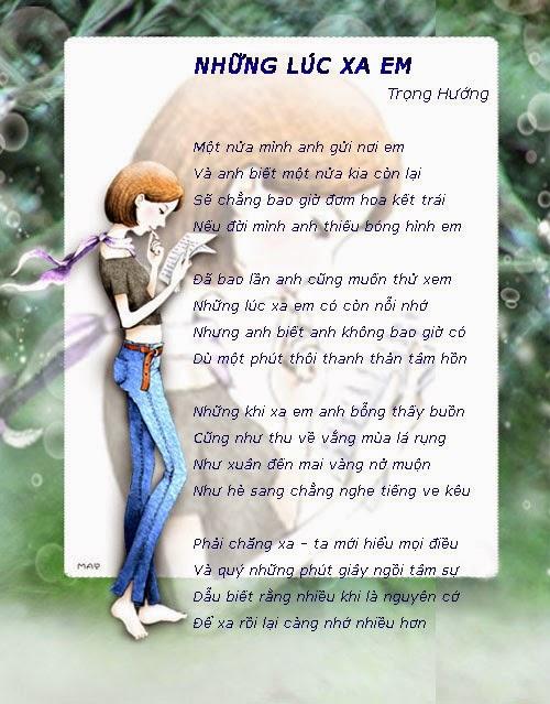 Hình ảnh bài thơ Những lúc xa em