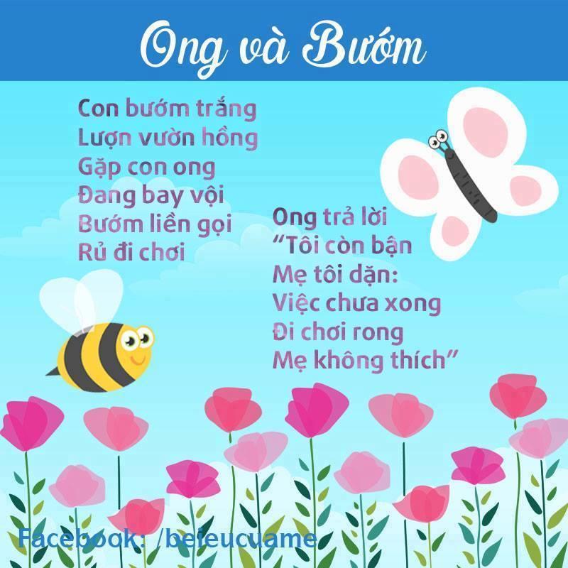 Hình ảnh bài thơ Ong và bướm