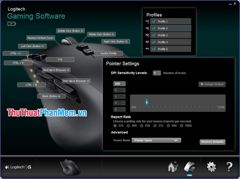 Thay đổi DPI của chuột Logitech trong phần mềm Logitech Gaming Software