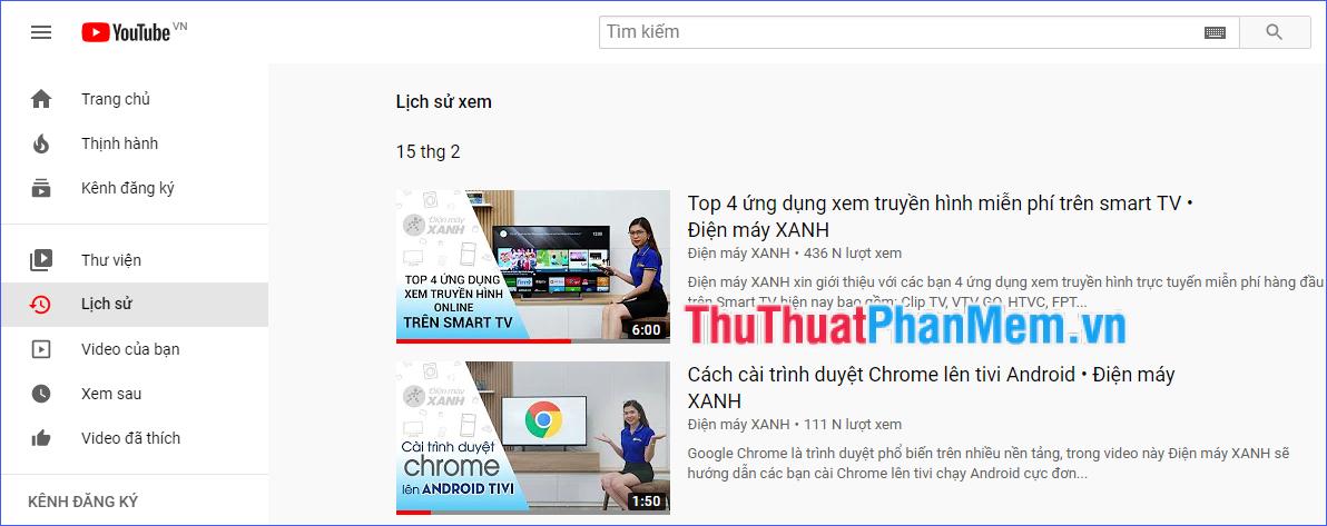 Tìm kiếm video mà bạn muốn xem lại trong danh sách kết quả
