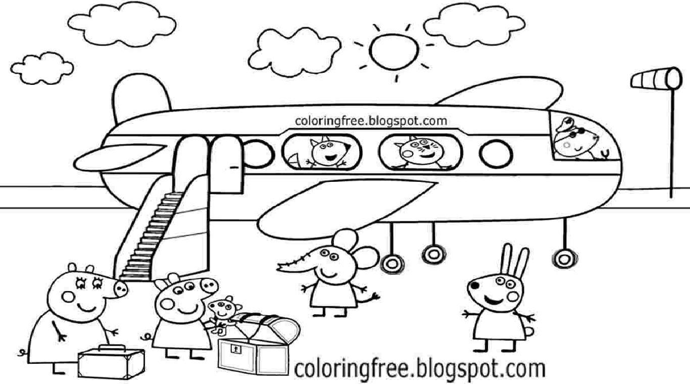 Hình ảnh bé heo Peppa đi máy bay