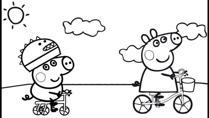 Hình ảnh tô màu chú heo Peppa đi xe đạp