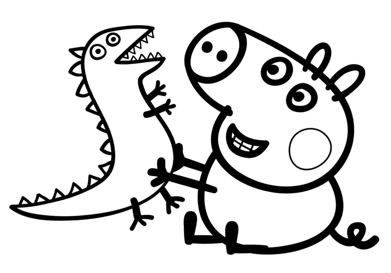 Hình ảnh tô màu chú heo Peppa và khủng long đồ chơi
